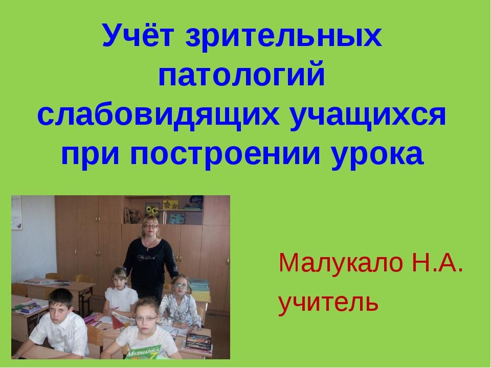 Учёт зрительных патологий слабовидящих учащихся при построении урока Малукало...
