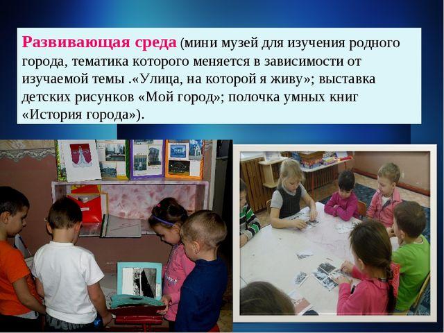 Развивающая среда (мини музей для изучения родного города, тематика которого...
