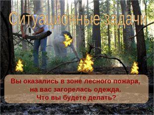Вы оказались в зоне лесного пожара, на вас загорелась одежда. Что вы будете