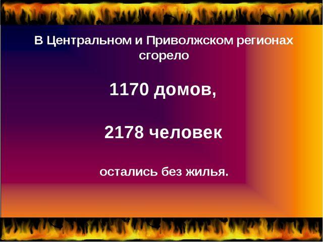 В Центральном и Приволжском регионах сгорело 1170 домов, 2178 человек остали...