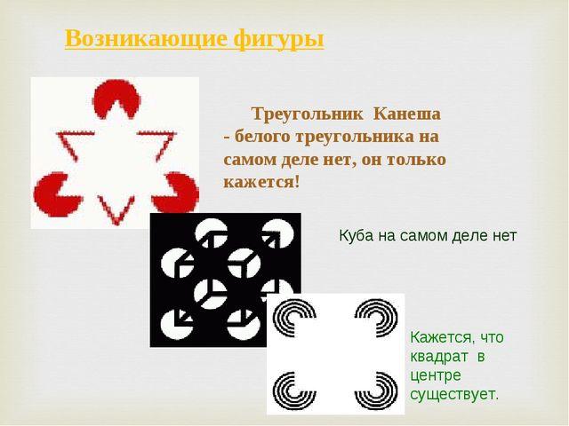 Возникающие фигуры Треугольник Канеша - белого треугольника на самом деле нет...
