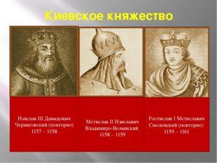 Киевское княжество Изяслав III Давыдовыч Черниговский (повторно) 1157 – 1158