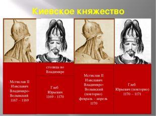 Киевское княжество Глеб Юрьевич 1169 - 1170 столица во Владимире Мстислав II