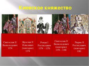 Киевское княжество Святослав II Всеволодович 1174 Ярослав II Изяславич (повто