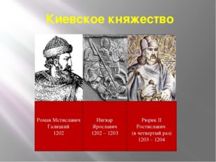 Киевское княжество Ингвар Ярославич 1202 – 1203 Рюрик II Ростиславич (в четве