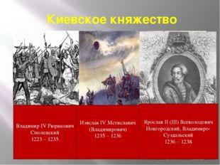 Киевское княжество Изяслав IV Мстиславич (Владимирович) 1235 – 1236 Владимир