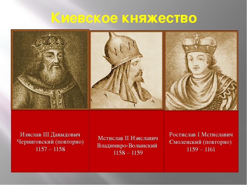 Киевское княжество Изяслав III Давыдовыч Черниговский (повторно) 1157 – 1158...