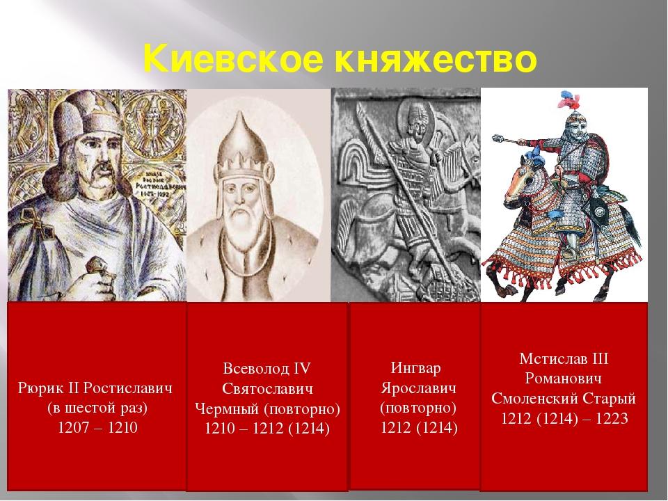 Киевское княжество Ингвар Ярославич (повторно) 1212 (1214) Всеволод IV Святос...