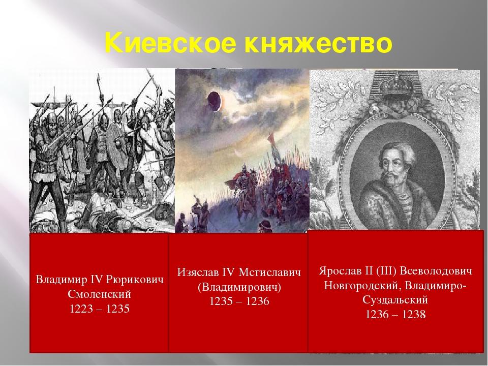 Киевское княжество Изяслав IV Мстиславич (Владимирович) 1235 – 1236 Владимир...
