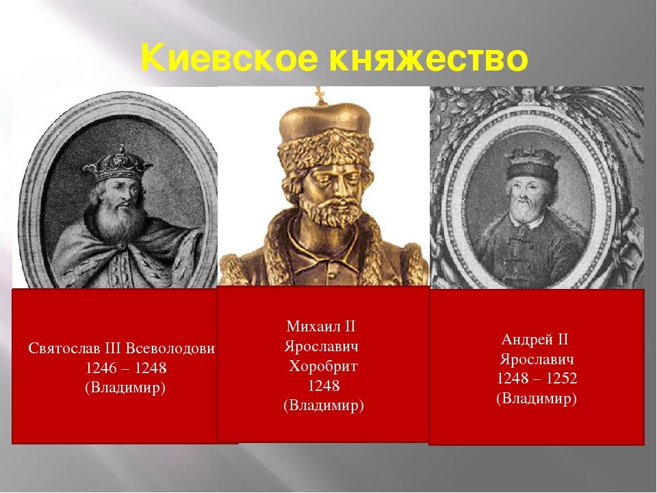 Киевское княжество Святослав III Всеволодович 1246 – 1248 (Владимир) Андрей I...