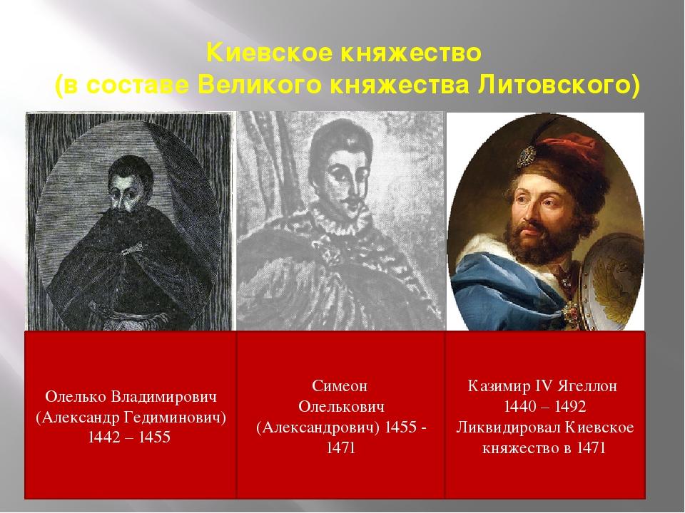 Киевское княжество (в составе Великого княжества Литовского) Олелько Владимир...