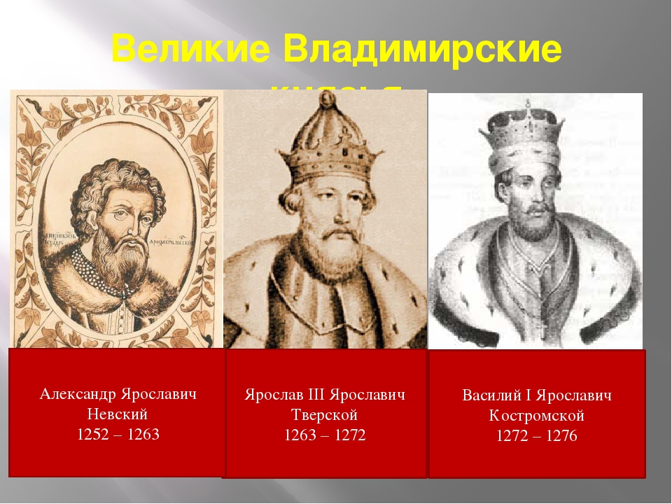 Великие Владимирские князья Ярослав III Ярославич Тверской 1263 – 1272 Васили...