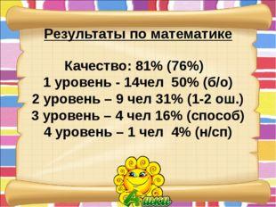 Результаты по математике Качество: 81% (76%) 1 уровень - 14чел 50% (б/о) 2 ур