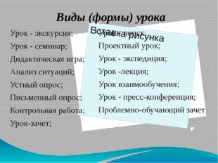 Урок - экскурсия; Урок - семинар; Дидактическая игра; Анализ ситуаций; Устны