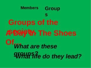 Members Groups What are these groups? Groups of the society. A Day In The Sho