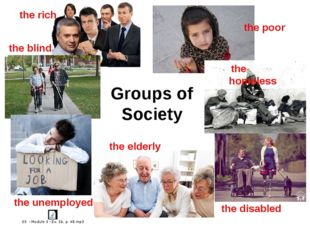 Groups of Society the rich the poor the blind the unemployed the elderly the