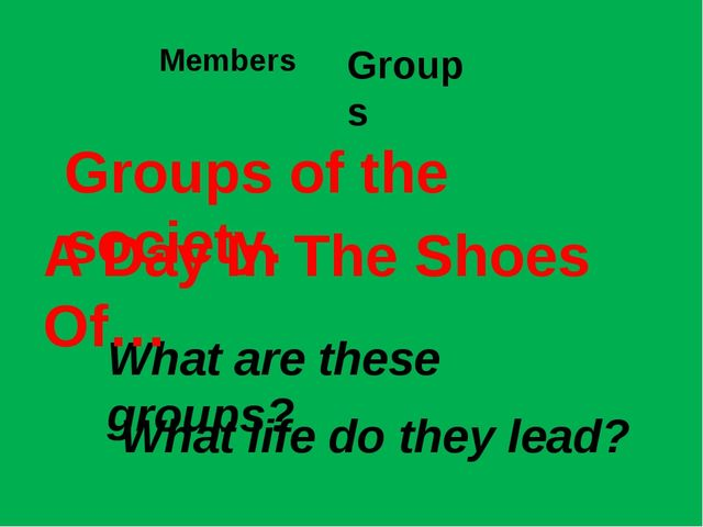 Members Groups What are these groups? Groups of the society. A Day In The Sho...