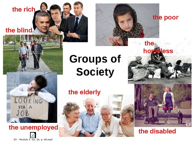 Groups of Society the rich the poor the blind the unemployed the elderly the...