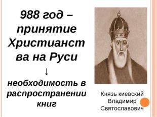 988 год – принятие Христианства на Руси ↓ необходимость в распространении кни