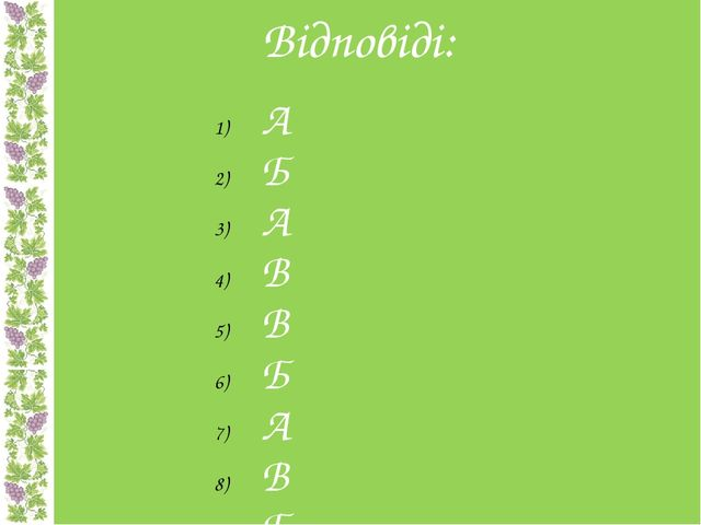 Відповіді: А Б А В В Б А В Б Б В А