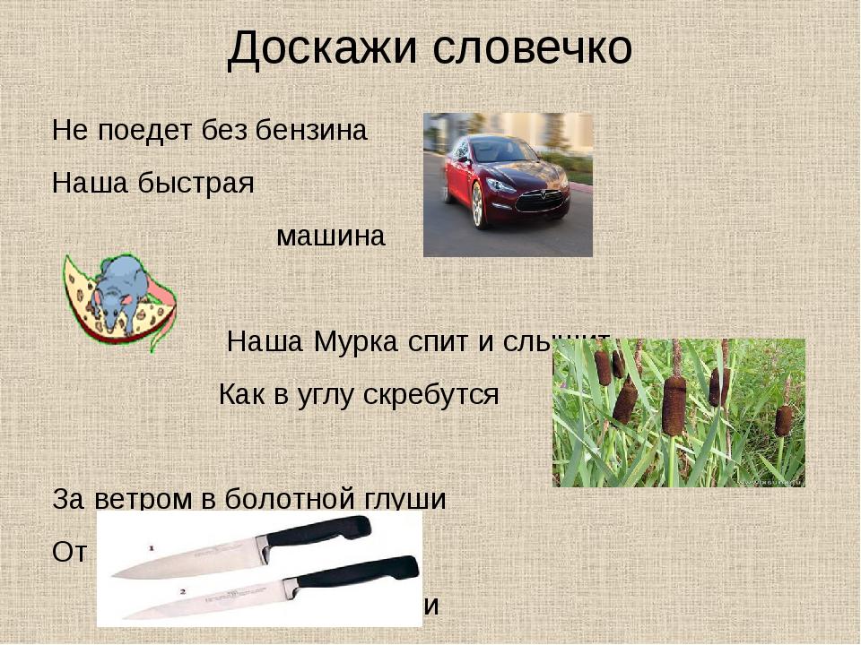 Доскажи словечко Не поедет без бензина Наша быстрая машина Наша Мурка спит и...