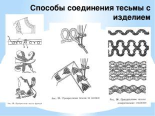 Способы соединения тесьмы с изделием