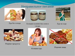 Неправильное питание Еда без голода Большое количество соли и сахара Жирные п