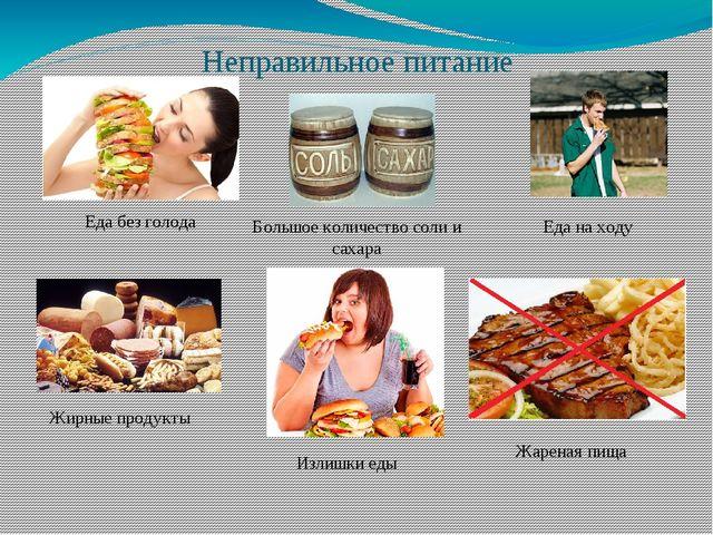 Неправильное питание Еда без голода Большое количество соли и сахара Жирные п...