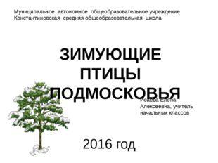 2016 год ЗИМУЮЩИЕ ПТИЦЫ ПОДМОСКОВЬЯ Исаева Елена Алексеевна, учитель начальны