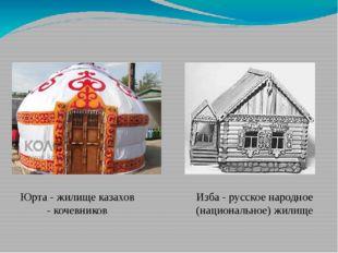 Юрта - жилище казахов - кочевников Изба - русское народное (национальное) жил