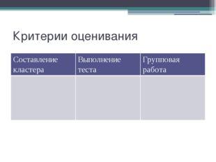 Критерии оценивания Составлениекластера Выполнение теста Групповая работа
