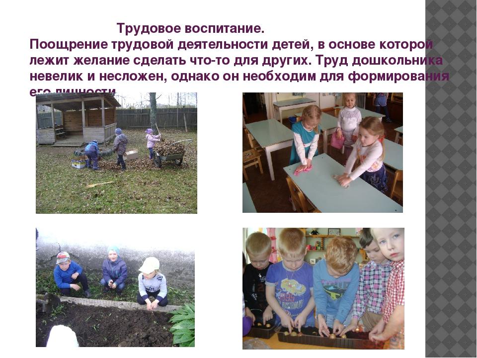 Трудовое воспитание. Поощрение трудовой деятельности детей, в основе которой...