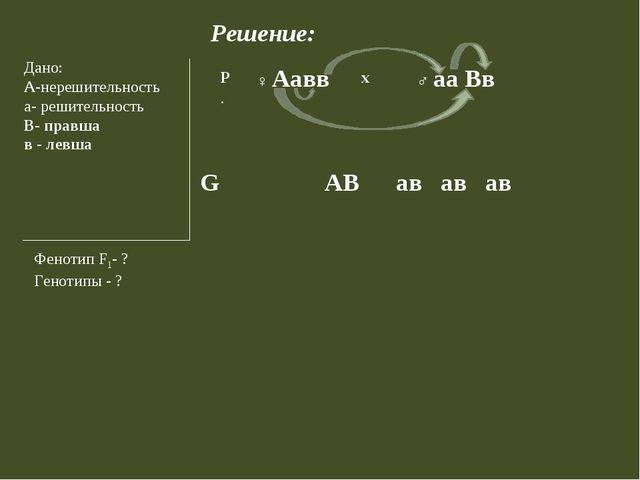 Решение: Дано: А-нерешительность а- решительность В- правша в - левша Фенотип...