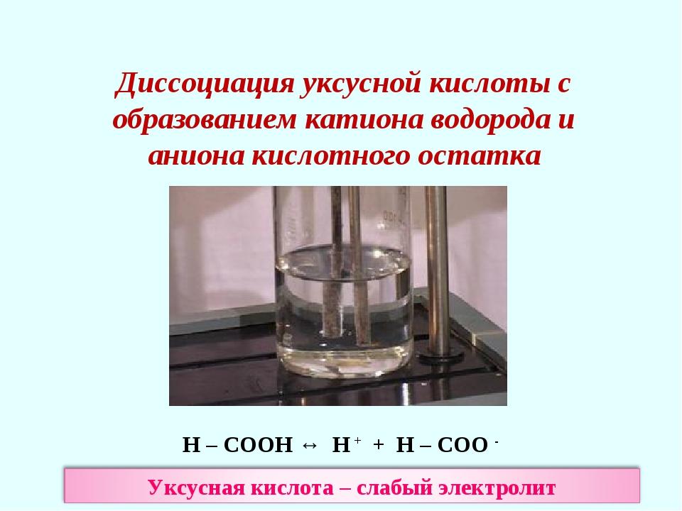 Диссоциация уксусной кислоты с образованием катиона водорода и аниона кислотн...