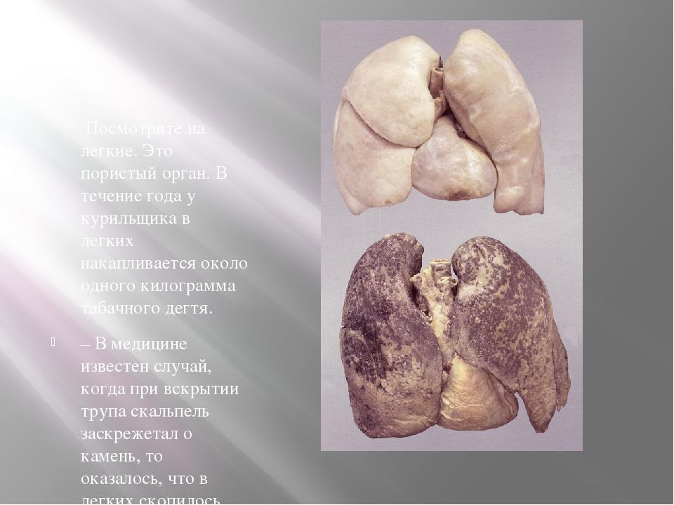 Посмотрите на легкие. Это пористый орган. В течение года у курильщика в легк...