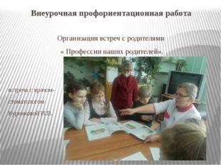 Внеурочная профориентационная работа Организация встреч с родителями « Профес