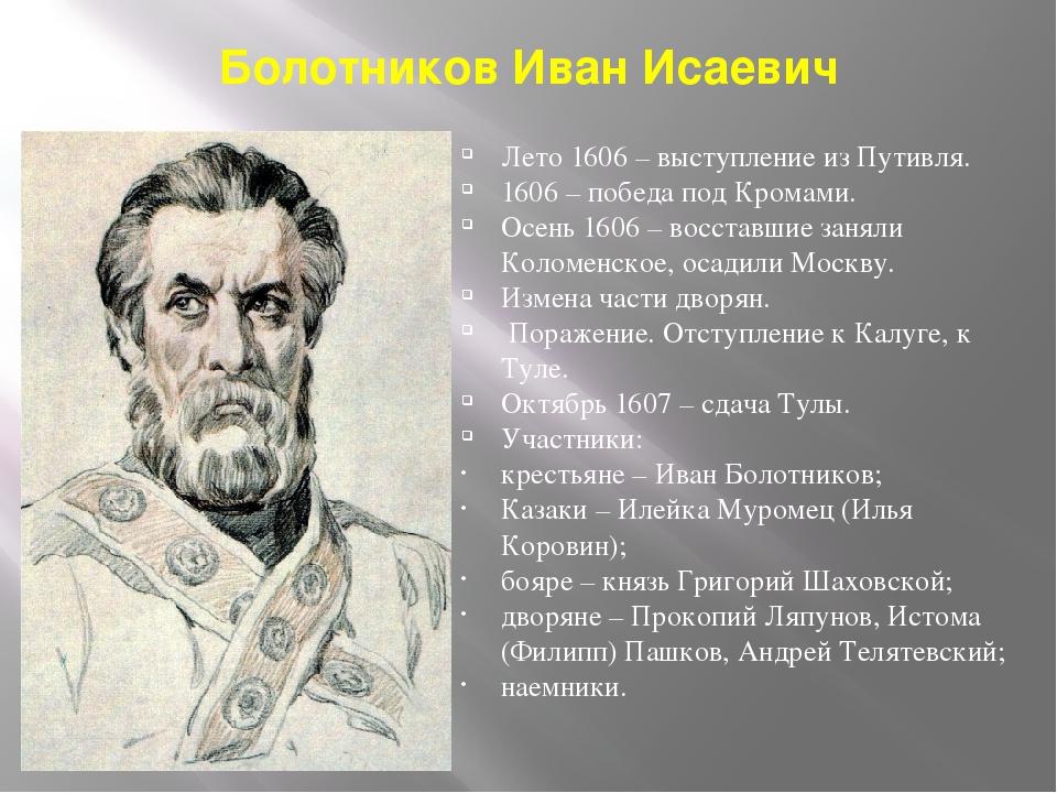 Болотников Иван Исаевич Лето 1606 – выступление из Путивля. 1606 – победа под...