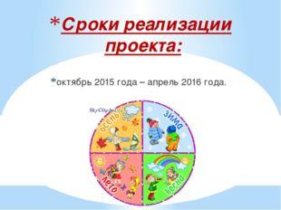 Сроки реализации проекта: октябрь 2015 года – апрель 2016 года.