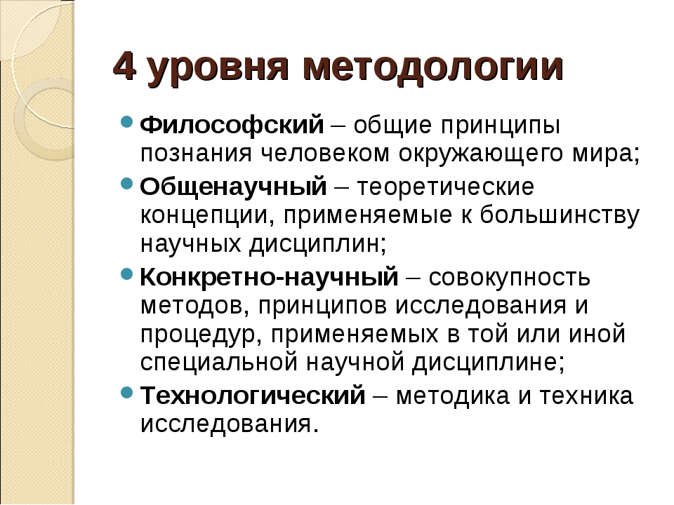 4 уровня методологии Философский – общие принципы познания человеком окружающ...