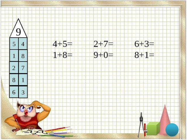 9 5 4 1 8 2 7 8 1 6 3 4+5= 2+7= 6+3= 1+8= 9+0= 8+1=