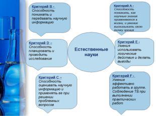 Естественные науки Критерий D – Способность планировать и проводить исследова