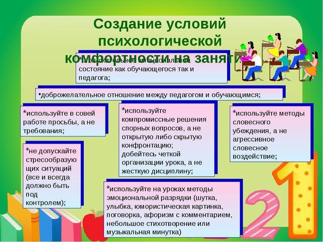 доброжелательное отношение между педагогом и обучающимся; *используйте методы...