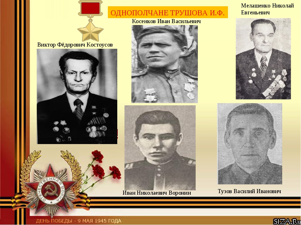 ОДНОПОЛЧАНЕ ТРУШОВА И.Ф. Виктор Фёдорович Костоусов Иван Николаевич Воронин...