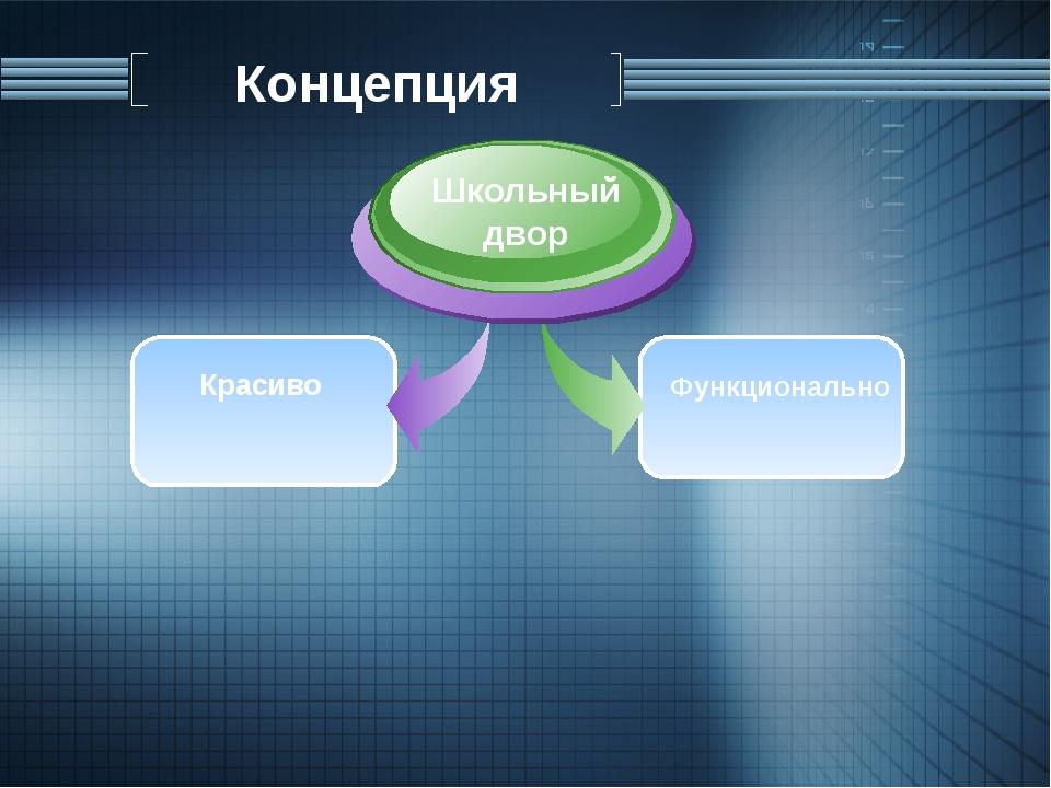 Концепция Красиво Школьный двор Функционально