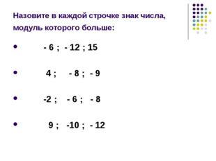Назовите в каждой строчке знак числа, модуль которого больше: - 6 ; - 12 ; 15