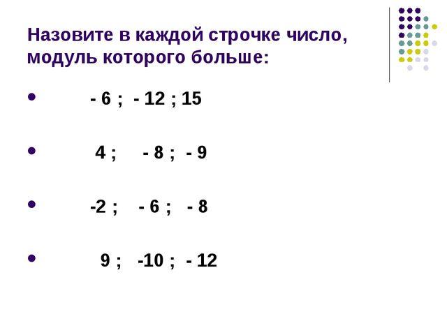 Назовите в каждой строчке число, модуль которого больше: - 6 ; - 12 ; 15 4 ;...