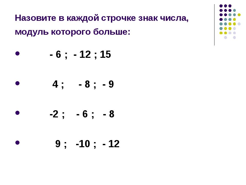 Назовите в каждой строчке знак числа, модуль которого больше: - 6 ; - 12 ; 15...