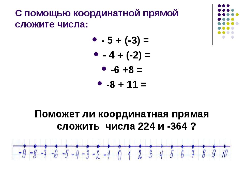 С помощью координатной прямой сложите числа: - 5 + (-3) = - 4 + (-2) = -6 +8...
