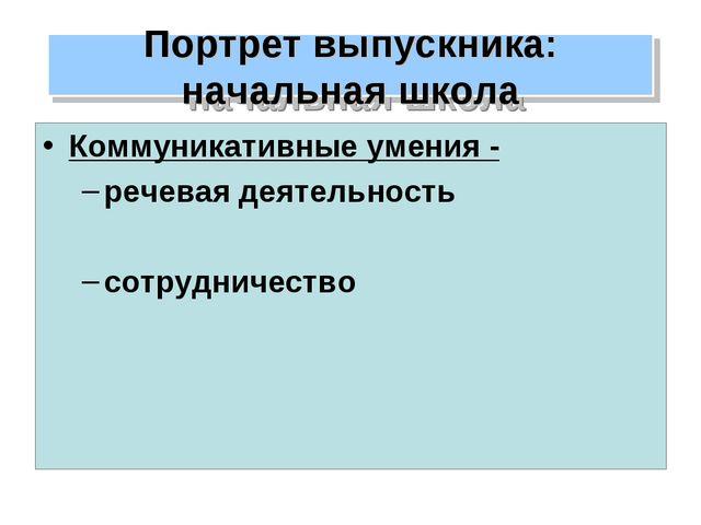 Коммуникативные умения - речевая деятельность сотрудничество Портрет выпускни...