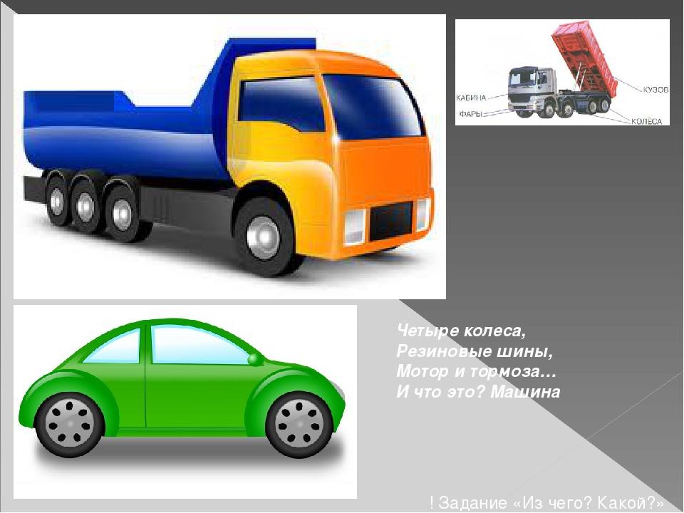 Четыре колеса, Резиновые шины, Мотор и тормоза… И что это? Машина ! Задание «...